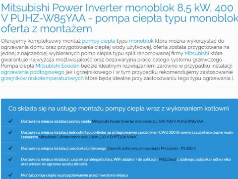 Mitsubishi Power Inverter monoblok 8,5 kW, 400 V PUHZ-W85YAA - pompa ciepła typu monoblok oferta z montażem