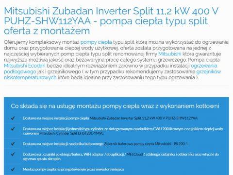 Mitsubishi Zubadan Inverter Split 11,2 kW 400 V PUHZ-SHW112YAA - pompa ciepła typu split oferta z montażem