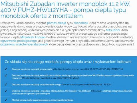 Mitsubishi Zubadan Inverter monoblok 11,2 kW, 400 V PUHZ-HW112YHA - pompa ciepła typu monoblok oferta z montażem