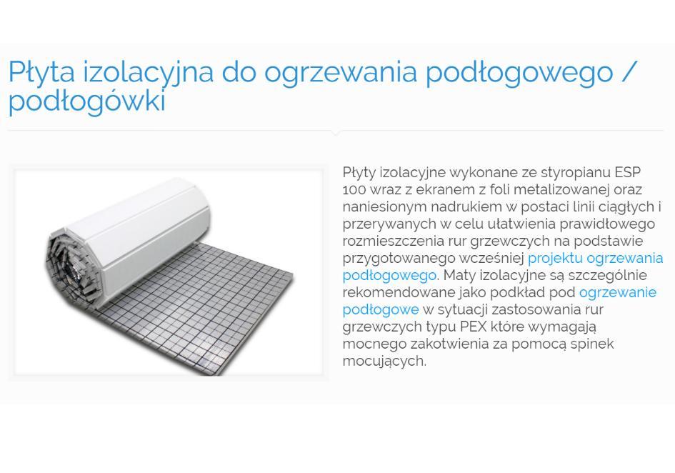 Płyta izolacyjna do ogrzewania podłogowego - podłogówki