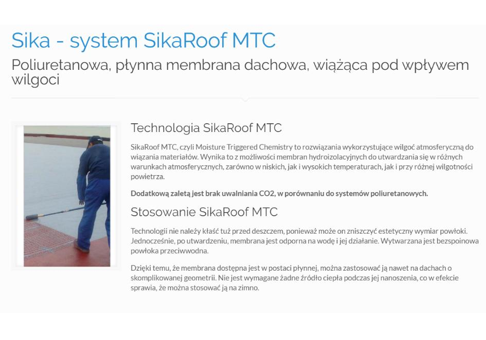 Sika - system SikaRoof MTC
