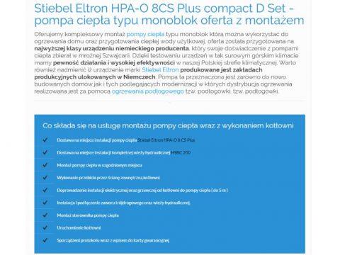 Stiebel Eltron HPA-O 8CS Plus compact D Set - pompa ciepła typu monoblok oferta z montażem