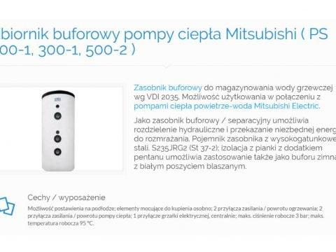 Zbiornik buforowy pompy ciepła Mitsubishi ( PS 200-1, 300-1, 500-2 )