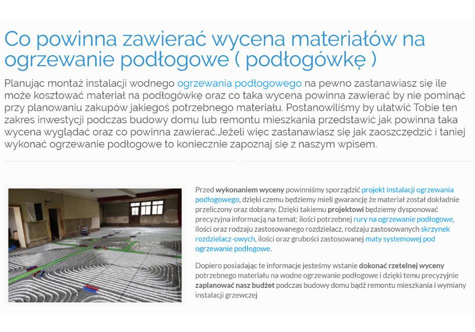 Co powinna zawierać wycena materiałów na ogrzewanie podłogowe ( podłogówkę )