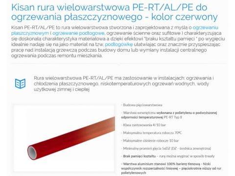Kisan rura wielowarstwowa PE-RT-AL-PE do ogrzewania płaszczyznowego - kolor czerwony