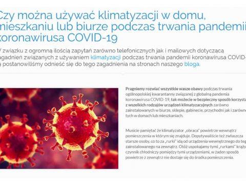Czy można używać klimatyzacji w domu, mieszkaniu lub biurze podczas trwania pandemii koronawirusa COVID-19
