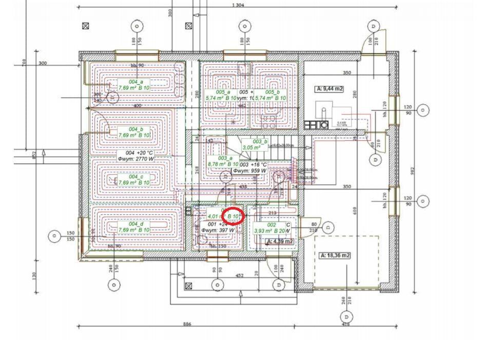 Przykładowy rozstaw rur grzewczych w ogrzewaniu podłogowym