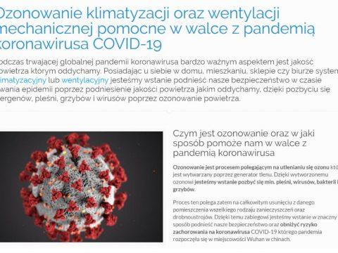 Ozonowanie klimatyzacji oraz wentylacji mechanicznej pomocne w walce z pandemią koronawirusa COVID-19