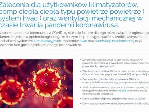 Zalecenia dla użytkowników klimatyzatorów, pomp ciepła ciepła typu powietrze powietrze ( system hvac ) oraz wentylacji mechanicznej w czasie trwania pandemii koronawirusa