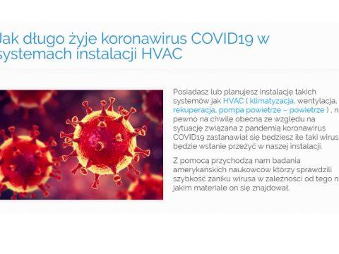 Jak długo żyje koronawirus COVID19 w systemach instalacji HVAC