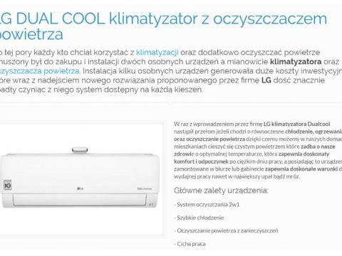 LG DUAL COOL klimatyzator z oczyszczaczem powietrza