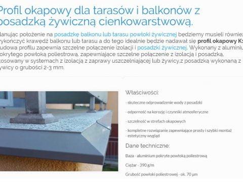 Profil okapowy dla tarasów i balkonów z posadzką żywiczną cienkowarstwową