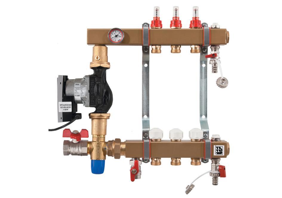 Rozdzielacz stalowy z układem mieszającym, przepływomierzami, zaworami termostatycznymi i zaworem trójdrożnym