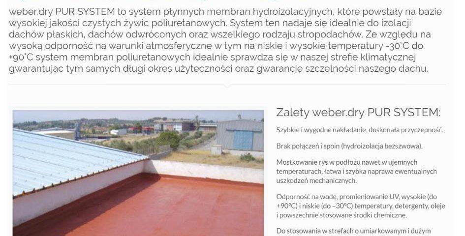 Płynna membrana dachowa - system płynnych hydroizolacji weber.dry PUR System - K4