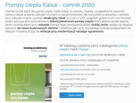 Pompy ciepła Kaisai - cennik 2020 - K3