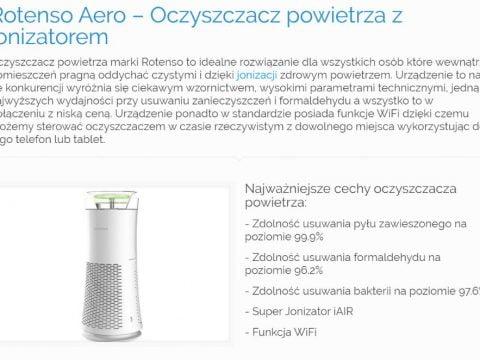 Rotenso Aero – Oczyszczacz powietrza z jonizatorem - K1