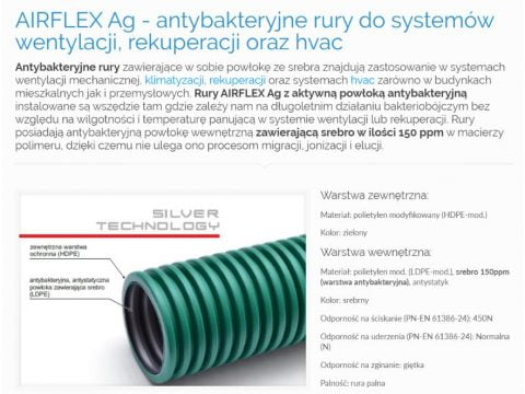 AIRFLEX Ag - antybakteryjne rury do systemów wentylacji, rekuperacji oraz hvac