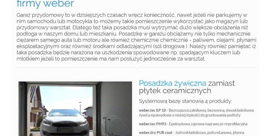 Garaż przydomowy - posadzka z żywicy epoksydowej w systemie kamiennego dywanu firmy weber - K1