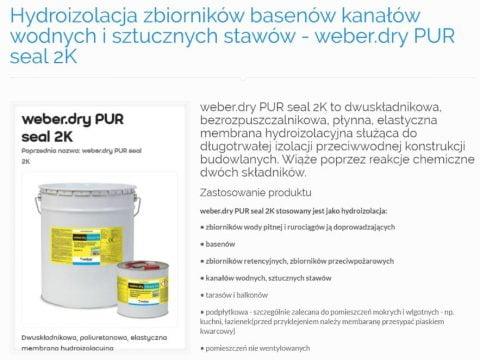 Hydroizolacja zbiorników basenów kanałów wodnych i sztucznych stawów - weber.dry PUR seal 2K - K1