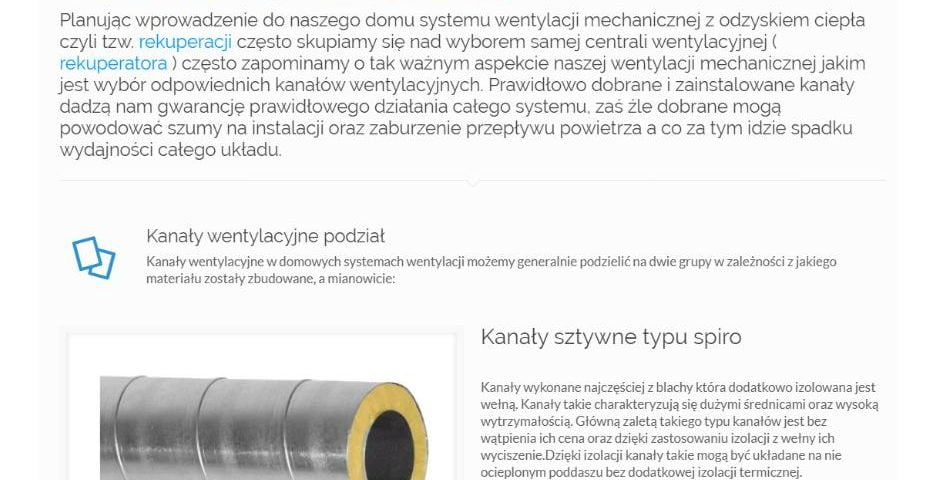 akie kanały wybrać w systemie wentylacji mechanicznej – rekuperacji - K1