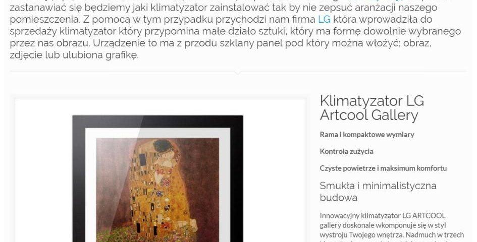 LG Artcool Gallery - klimatyzator jak dzieło sztuki - K1