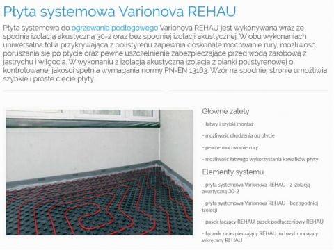 Płyta systemowa Varionova REHAU - K1