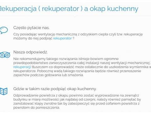 Rekuperacja ( rekuperator ) a okap kuchenny - K1