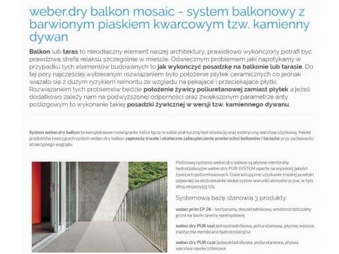 weber.dry balkon mosaic - system balkonowy z barwionym piaskiem kwarcowym tzw. kamienny dywan - K1