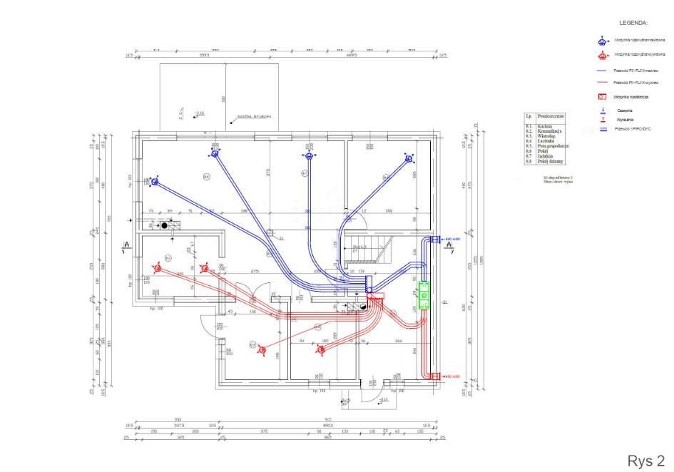 Przykładowy projekt wentylacji mechanicznej - rekuperacji - K2