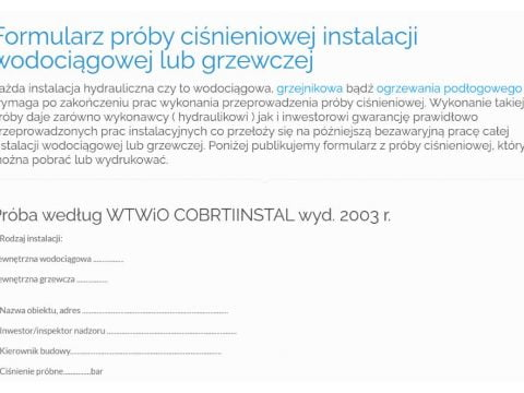 Formularz próby ciśnieniowej instalacji wodociągowej lub grzewczej - K1