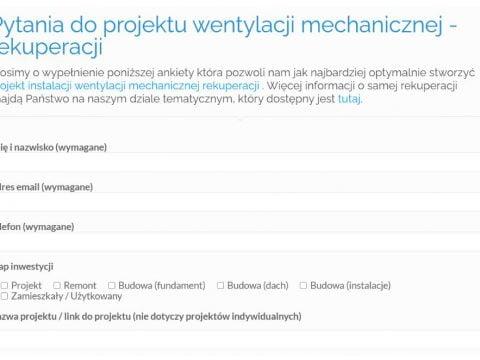 Pytania do projektu wentylacji mechanicznej - rekuperacji