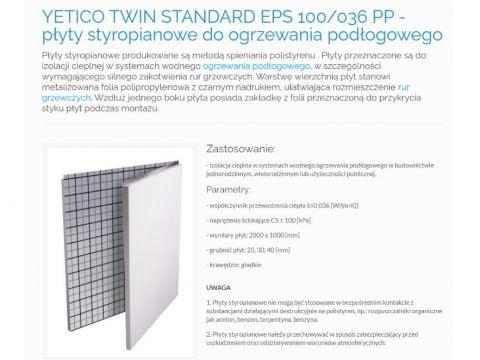 YETICO TWIN STANDARD EPS 100-036 PP - płyty styropianowe do ogrzewania podłogowego