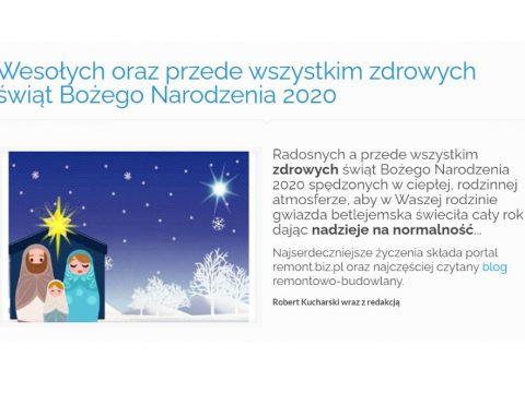 Wesołych oraz przede wszystkim zdrowych świąt Bożego Narodzenia 2020 - K2