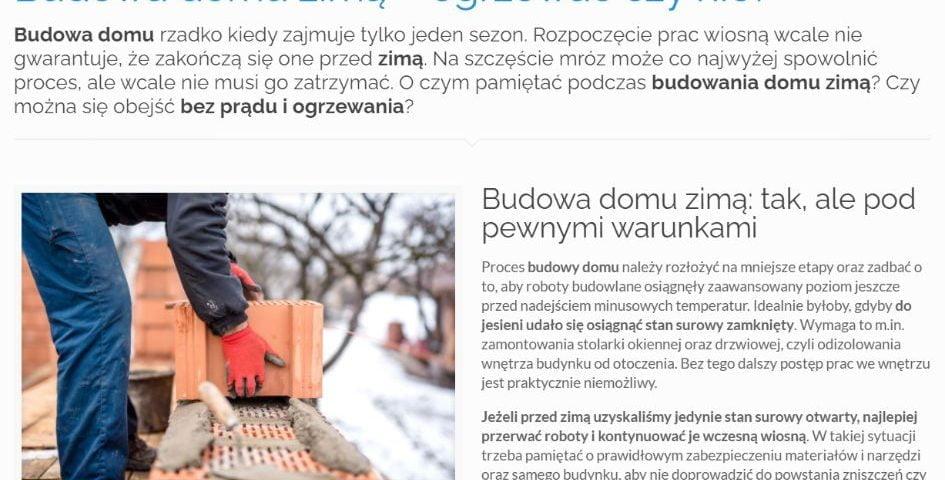 Budowa domu zimą – ogrzewać czy nie