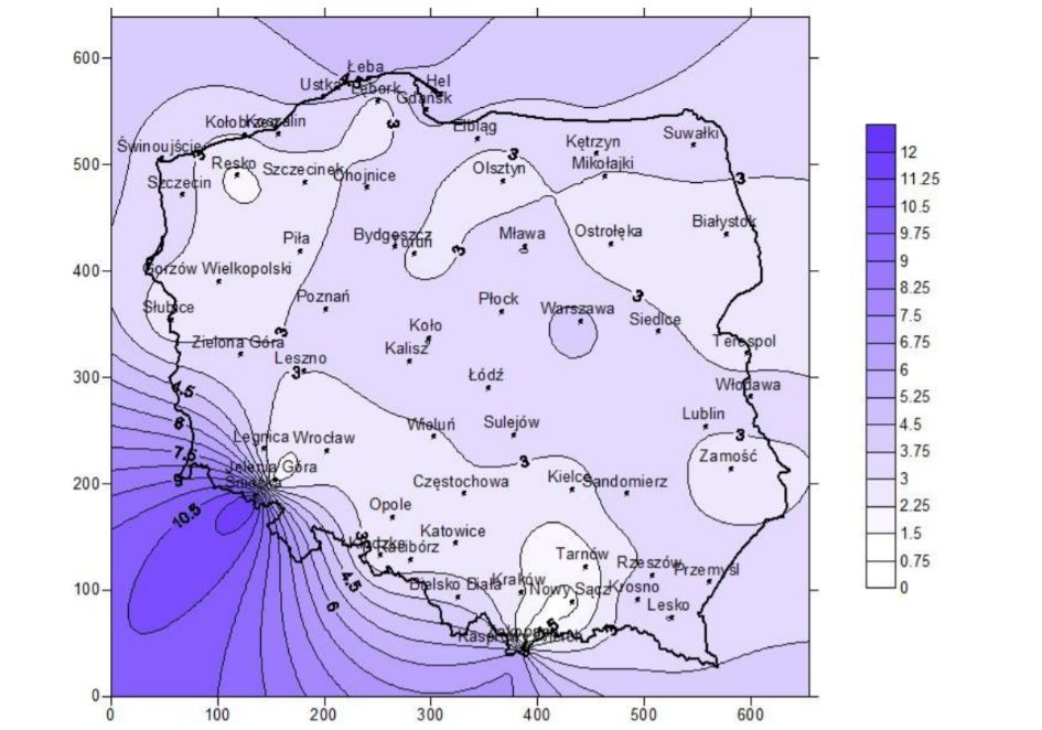 Mapa średnich prędkości wiatru w ujęciu rocznym na terenie Polski - K1