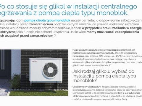 Po co stosuje się glikol w instalacji centralnego ogrzewania z pompą ciepła typu monoblok