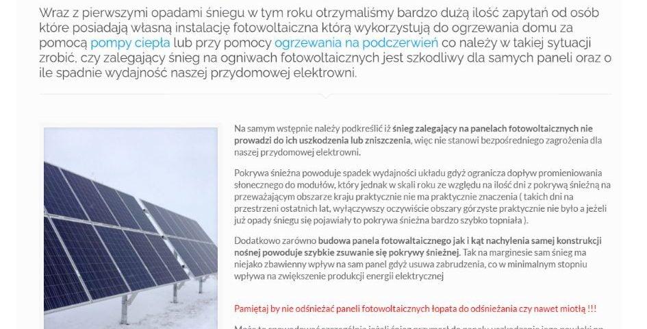 Śnieg na panelach fotowoltaicznych – czy należy odśnieżać naszą instalację fotowoltaiczną