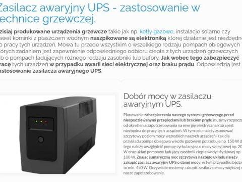 Zasilacz awaryjny UPS - zastosowanie w technice grzewczej