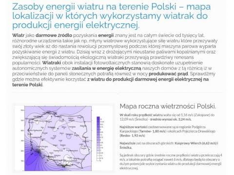 Zasoby energii wiatru na terenie Polski – mapa lokalizacji w których wykorzystamy wiatrak do produkcji energii elektrycznej