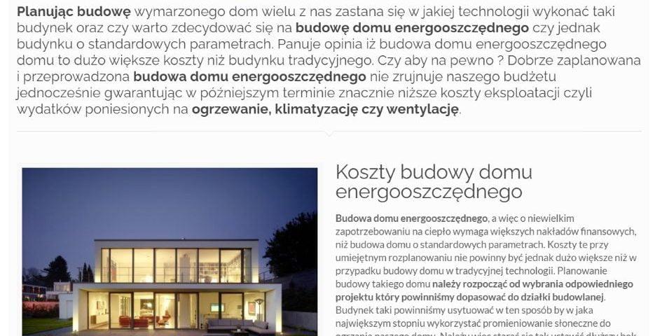 Dom energooszczędny - koszty budowy vs. koszty eksploatacji