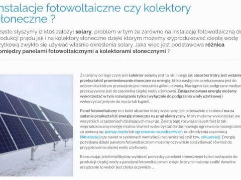 Często słyszymy iż ktoś założył solary, problem w tym że zarówno na instalację fotowoltaiczną do produkcji prądu jak i na kolektory słoneczne dzięki którym możemy wyprodukować ciepłą wodę użytkową zwykło się używać właśnie określenia solary. Jaka więc jest podstawowa różnica pomiędzy panelami fotowoltaicznymi a kolektorami słonecznymi ?
