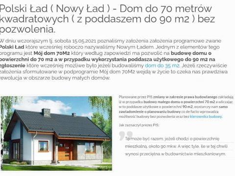 Polski Ład ( Nowy Ład ) - Dom do 70 metrów kwadratowych ( z poddaszem do 90 m2 ) bez pozwolenia