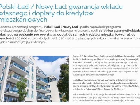 Polski Ład Nowy Ład - gwarancja wkładu własnego i dopłaty do kredytów mieszkaniowych