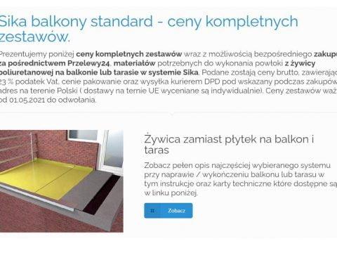 Sika balkony standard - ceny kompletnych zestawów
