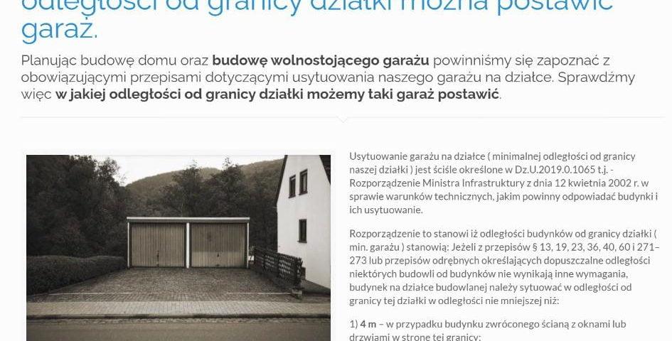 Garaż i jego usytuowanie na działce czyli w jakiej odległości od granicy działki można postawić garaż