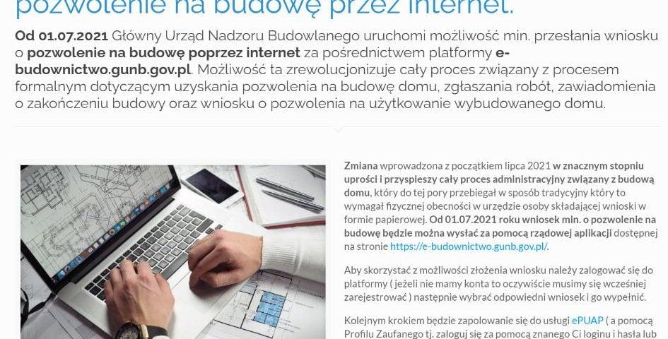 Od 01.07.2021 rusza składanie wniosków o pozwolenie na budowę przez internet