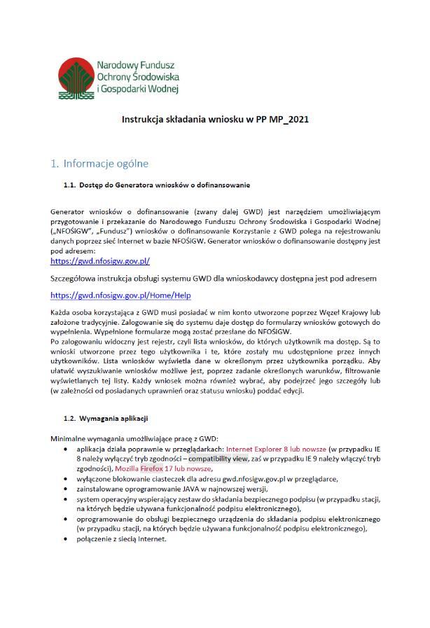 Instrukcja złożenia wniosku w programie Mój prąd 3.0.