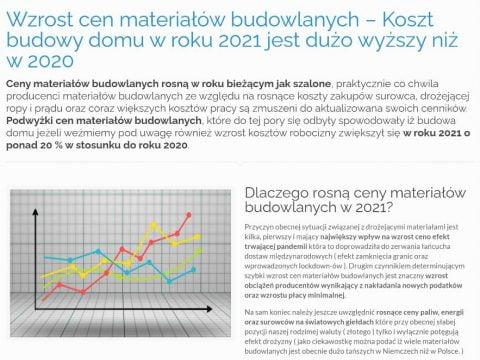 Wzrost cen materiałów budowlanych – Koszt budowy domu w roku 2021 jest dużo wyższy niż w 2020