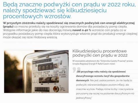 Będą znaczne podwyżki cen prądu w 2022 roku, należy spodziewać się kilkudziesięciu procentowych wzrostów