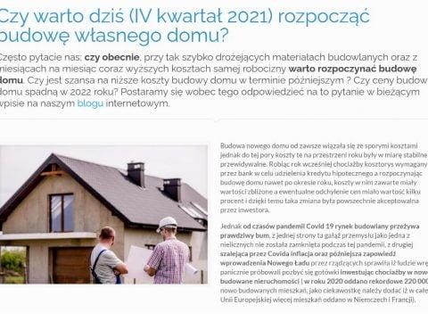 Czy warto dziś (IV kwartał 2021) rozpocząć budowę własnego domu